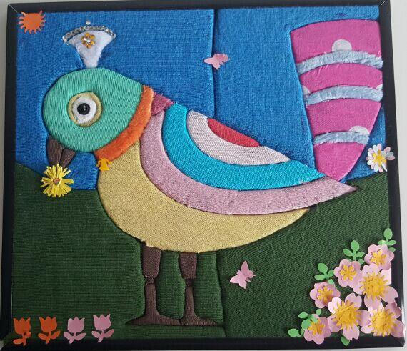 此主题相关图片如下:4-手工布贴画《小花鸟》华新小学何茹逸 指导老师